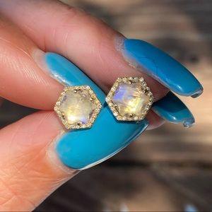 14k Moonstone and Diamond Stud Earrings
